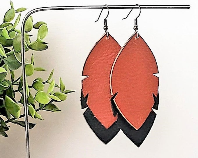 Leather Feather Leaf Earrings / Black & Brown / Leather Earrings / Feather Earrings / Statement Earrings/ Leaf Earrings / Layered Leather