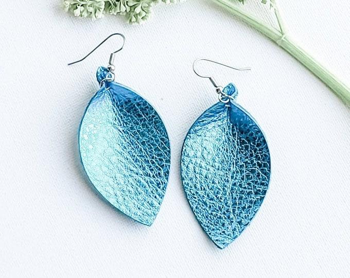 """Genuine Leather Earrings / Metallic Aqua / Leather Leaf Earrings / Blue Earrings / Boho Style / Aella V Jewelry / Gift / Medium / 2.5""""x1.25"""""""