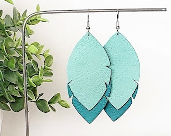 Leather Feather Leaf Earrings / Mint & Jaded Teal / Leather Earrings / Feather Earrings / Statement Earrings/ Leaf Earrings / Drop Leaf