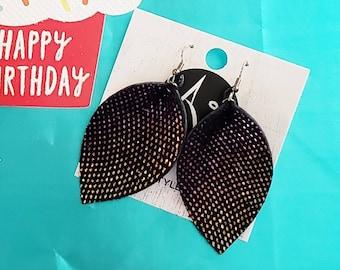 Leather Leaf Earrings / Rainbow Gem / Kayla Collection / Party Earrings / Sparkle Earrings / Rhinestone Earrings / Metallic Leather