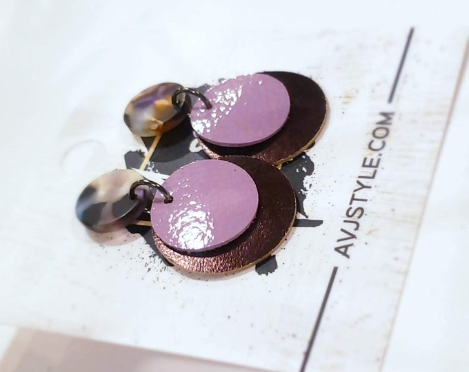 Acrylic & Leather Disc Earrings / Garden Party / Metallic Eggplant / Lilac / Acetate Earrings / Retro Earrings / Statement Earrings / Gift