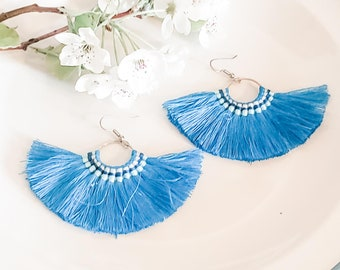 Large Hoop Fan Tassel Earrings, Blue Fan Earrings, Tassel Jewelry, Large Fan Earrings, Large Fringe Earrings, Statement Jewelry, Bold Style