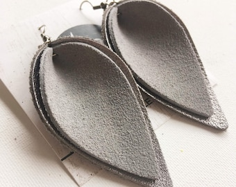 "Genuine Leather Earrings / Gray Suede / Layered Petal / 2019 Suede Collection /  Style / Large / 3 x 1.75"" / Hypoallergenic"