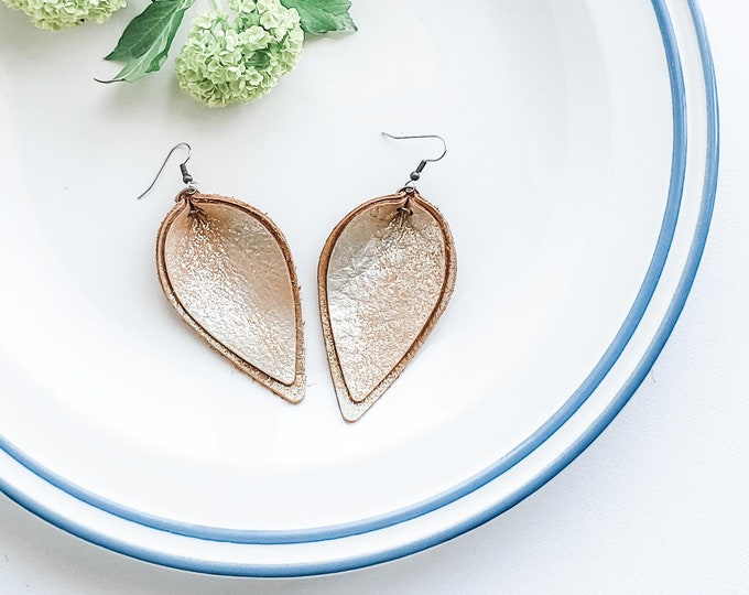 """Creme Brulee / Genuine Leather Earrings / Layered Leather Earrings / Petal / Rustic Style / Statement Earrings / Aella V Jewelry / 3 x 1.75"""""""