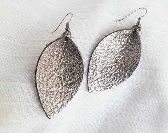 "Silver Metallic / Genuine Leather Earrings / FREE SHIPPING / Leaf / 2.5""x1.25""/ Hypoallergenic / Spring"