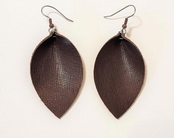 Chocolate Brown / Leather Leaf Earrings /  Earrings /  / Statement Earrings / Leaf Earrings / Leather Earrings