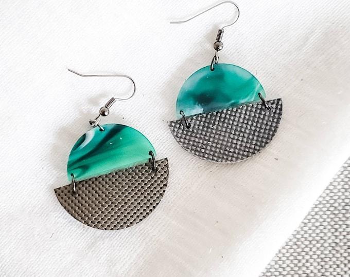 Geometric Leather & Acrylic Resin Statement Earrings, Half Moon Semi Circle Earrings, Lightweight, Modern Earrings, Marbled Emerald Titanium