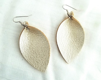 "Leather Leaf Earrings / Champagne Metallic / Genuine Leather / Pinched Leaf / Cream Earrings / Statement Earrings / Medium / 2.5""x1.25"""
