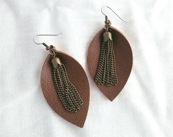 "Brown Leather Earrings / Metallic Tassel / FREE SHIPPING /  / Statement Earrings / Leaf / Medium / 2.5""x1.25"" / Hypoallergenic"