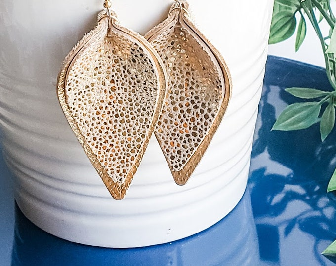 Golden Goddess / Genuine Leather Earrings / Layered Earrings / Petal /  Gold Earrings / Statement Earrings / Aella V Jewelry / 3 x 1.75""