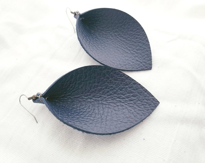 "Navy Blue / Leather Earrings / FREE SHIPPING / Joanna Gaines / Magnolia Market / Statement / Leaf / X-Large /3.25""x 2.25""/ Hypoallergenic"