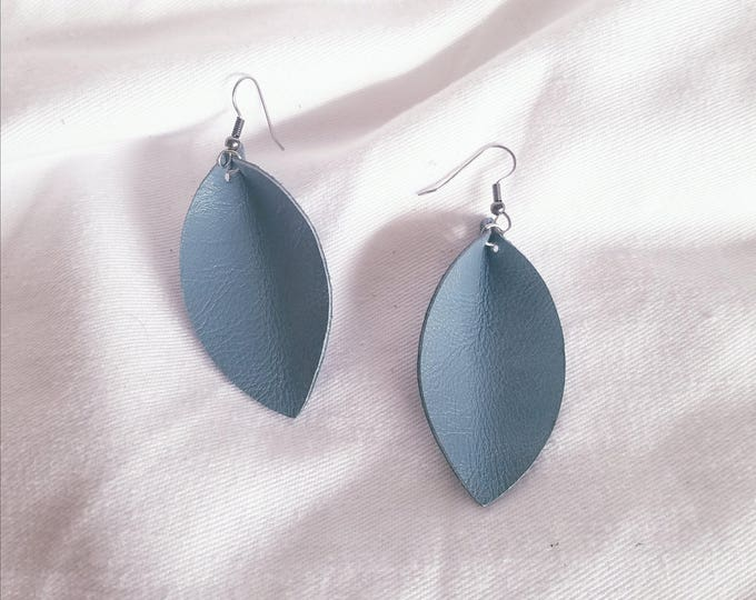 "Aqua Mist Leather Earrings / FREE SHIPPING/ /  Inspired/ Zia / Leaf Shape / Medium/2.5""x1.25""/ Hypo-allergenic"
