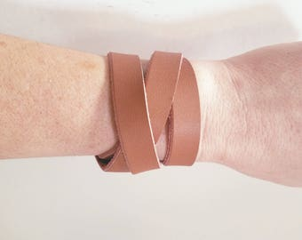 "Brown Leather Wrap Bracelet / FREE SHIPPING /  Style / Fixer Upper /  / Antique Brass Snap Closure/ .5""x24"""