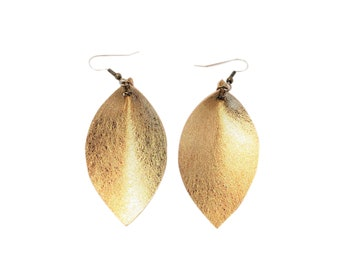 "Matte Metallic Gold / Leather Statement Earrings / FREE SHIPPING /  / Fixer Upper/  / Leaf / MD / 2.5""x1.25""/ Hypoallergenic"