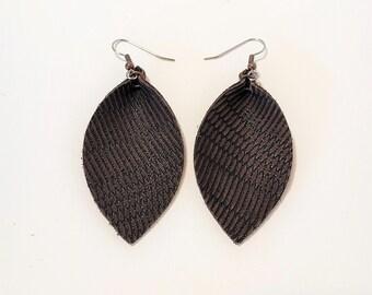 Dark Brown Feather / Leather Leaf Earrings /  Earrings /  / Statement Earrings / Leaf Earrings / Leather Earrings