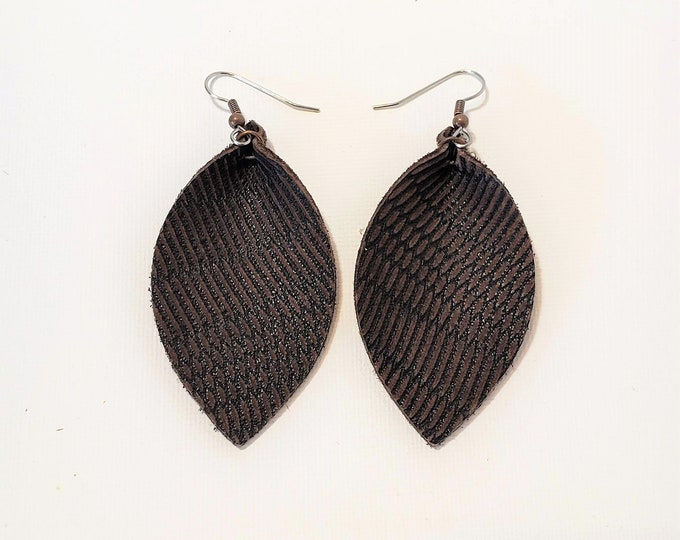 Dark Brown Feather / Leather Leaf Earrings /  Earrings /  / Statement Earrings / Leaf Earrings / Leather Earrings