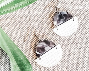 Geometric Leather & Acrylic Resin Statement Earrings, Half Moon Semi Circle Earrings, Lightweight, Modern Earrings, Marbled Charcoal / White