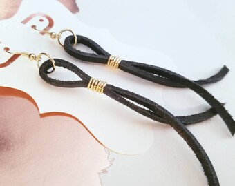 "Black Leather String Earrings / FREE SHIPPING/   Inspired/ Postman/ Medium/ 3.5""/ Silver, Gold or Antique Brass"