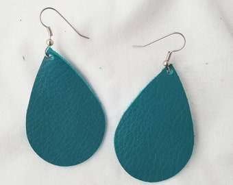 Jaded Teal Leather Teardrop Earrings / Statement Earrings / Classic Style / Simple / Lightweight & Comfortable / Hypoallergenic / Medium