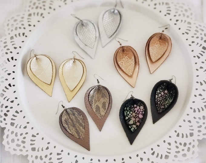 Shimmer Collection/  Layered Genuine Leather Earrings/  Style/ Statement Earrings/ Petal / Leaf Earrings/ Multiple Sizes