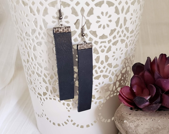 Black n' Blue / Leather Bar Earrings / Rustic / Boho / Similar to  / Statement Earrings / Lightweight & Comfortable / Medium