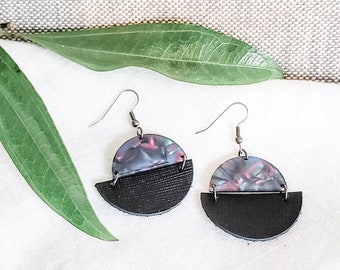 Geometric Leather & Acrylic Resin Statement Earrings, Half Moon Semi Circle Earrings, Lightweight Earrings, Modern Earrings, Black Rainbow