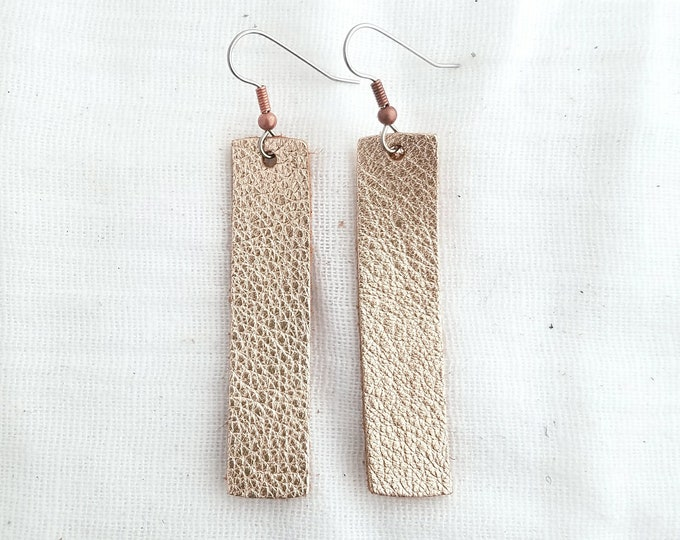 "Rose Gold Metallic / Leather Earrings / FREE SHIPPING /  / Lightweight / Minimal / Simple Bar / Medium / 2""x.5""/ Hypoallergenic"