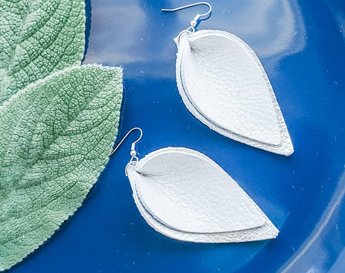 Glistening Snow / Genuine Leather Earrings / Layered Earrings / Petal /  White Earrings / Statement Earrings / Aella V Jewelry / 3 x 1.75""