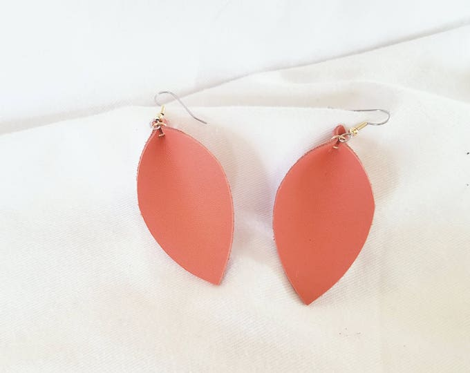 "Coral Leather Earrings/ FREE SHIPPING/  /  Inspired/ / Leaf Shape/ Medium/2.5""x1.25""/ Hypo-allergenic"