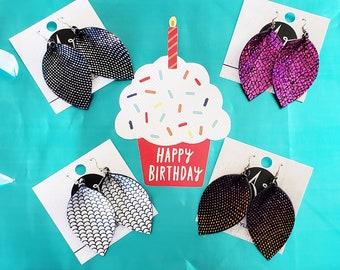 Leather Leaf Earrings / Kayla Collection / Party Earrings / Sparkle Earrings / Mermaid Earrings / Rhinestone Earrings / Rainbow Earrings