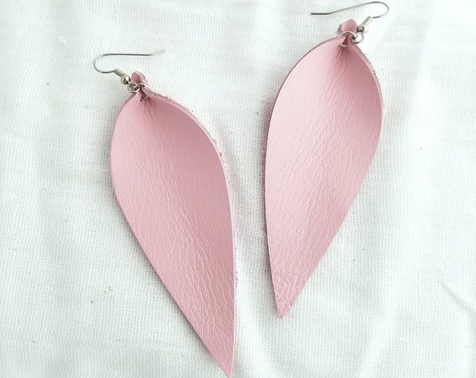 "Petal Pink / Leather Earrings / FREE SHIPPING/  /  /  / Statement / Leaf / Long/ 3.5""x1.25""/ Hypoallergenic"
