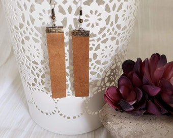 Rustic Brown / Leather Bar Earrings / Boho Style / Similar to  / Statement Earrings / Lightweight & Comfortable / Medium