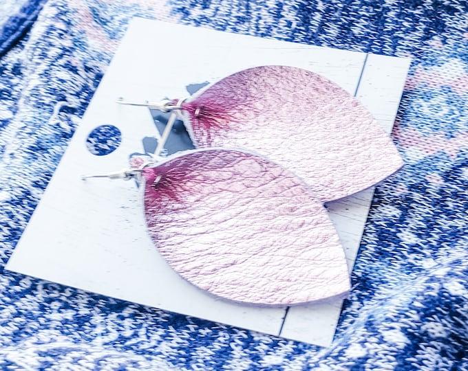 "Genuine Leather Earrings / Metallic Petal Pink / Leather Leaf Earrings / Pink Earrings / Boho Style / Aella V Jewelry / Medium / 2.5""x1.25"""