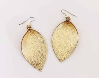 Gold Metallic Leather Leaf Earrings /   Style / Statement Earrings / Boho / Bold Style / Lightweight & Comfortable / Medium
