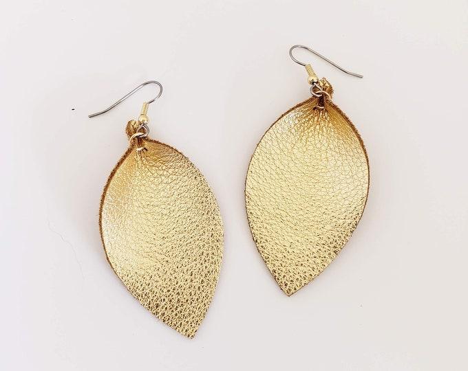 Gold Metallic Leather Leaf Earrings /   Style / Statement Earrings / Boho / Bold Style / Lightweight & Comfortable / Medium