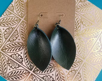 """Deep Forest Green / Leather Earrings / FREE SHIPPING / Joanna Gaines Magnolia Inspired / Leaf Shape / Medium / 2.5""""x1.25""""/ Hypoallergenic"""