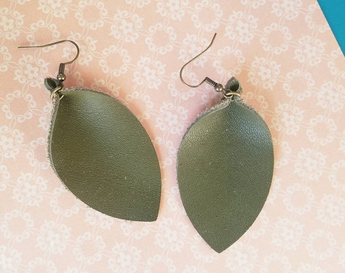"""Olive Green / Leather Earrings / FREE SHIPPING / Joanna Gaines / Magnolia Market / Leaf / Statement / Medium / 2.5""""x1.25""""/ Hypoallergenic"""