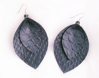 Black Leather Earrings / Snakeskin Print / Layered Leather Earrings / Extra Large Earrings / Bold Statement Earrings / Leaf Earrings / Gift