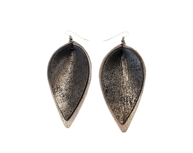 Genuine Leather Earrings / Layered / Distressed Charcoal / Black & Grey / Handmade /  Style / Large / Aella V Jewelry