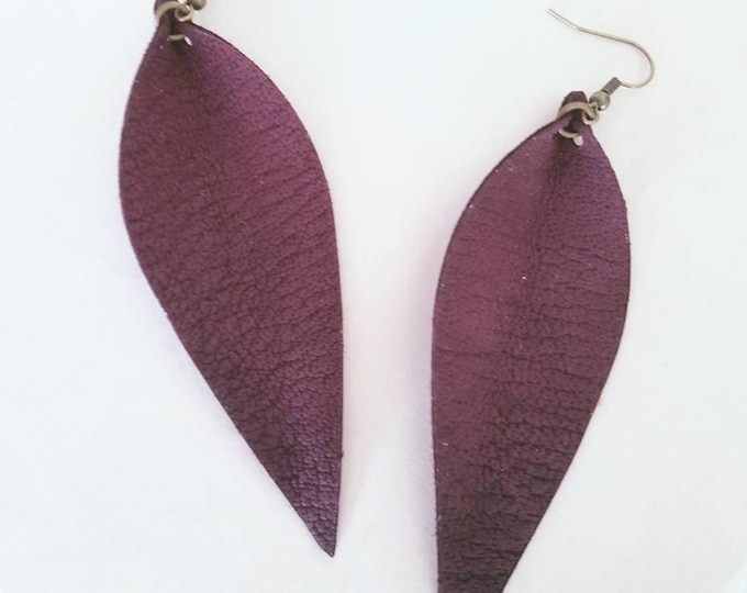 """Rustic Berry Leather Earrings / FREE SHIPPING/ Joanna Gaines Magnolia Inspired/ Zia/ Elongated Leaf/ Large/ 3.5""""x1.25""""/ Hypo-Allergenic"""