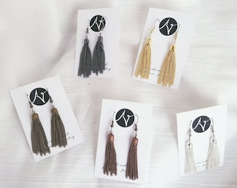 "Metallic Tassel Earrings / FREE SHIPPING / Medium / 2.5"" x .25"" / Lightweight / Hypoallergenic"