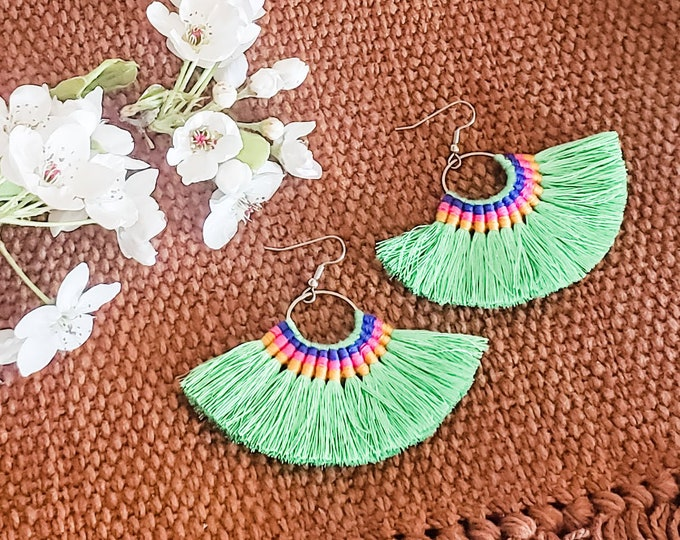 Large Hoop Fan Tassel Earrings, Green Fan Earrings, Tassel Jewelry, Large Fan Earrings, Large Fringe Earrings, Statement Jewelry, Bold Style