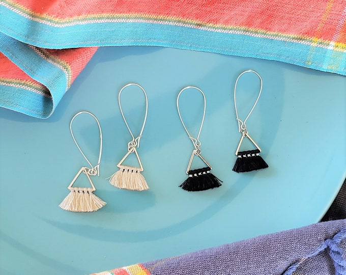 Triangle Fan Tassel Earrings, Black or Natural White, Tassel Jewelry, Small Tassel Earrings, Small Fringe Earrings, Dainty Jewelry, Minimal