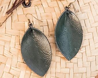 """Genuine Leather Leaf Earrings / Forest Green / Boho Style / Dark Green Earrings / Handmade / Aella V Jewelry / Medium / 2.5""""x 1.25"""""""