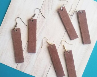 "Brown Leather Earrings / FREE SHIPPING /   / Bar Shape / Medium/ 2""x.5""/ Silver, Gold or Antique Brass/ Gift"