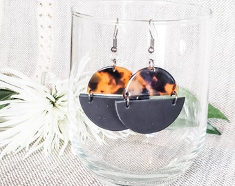 Geometric Leather & Acrylic Resin Statement Earrings, Half Moon Semi Circle Earrings, Lightweight Earrings, Modern Earrings, Black Tortoise