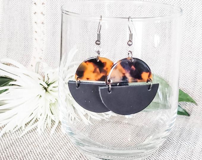 Geometric Leather & Acrylic Resin Statement Earrings, Half Moon Semi Circle Earrings, Lightweight Earrings, Modern Earrings, Black Tortoise