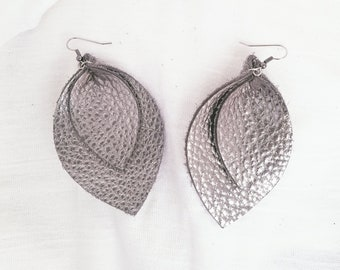 "Silver Metallic / Layered / Leather Earrings / FREE SHIPPING /  /  / Leaf / X-Large / 3.25""x 2.25""/ Hypoallergenic"
