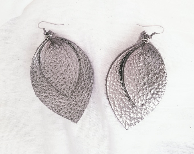 "Silver Metallic / Layered / Leather Earrings / FREE SHIPPING / Joanna Gaines / Magnolia / Leaf / X-Large / 3.25""x 2.25""/ Hypoallergenic"