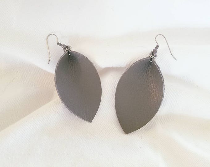 "Granite Leather Earrings/ FREE SHIPPING/ /  Inspired/ / Leaf Shape/ Medium/2.5""x1.25""/ Hypo-allergenic /Grey"